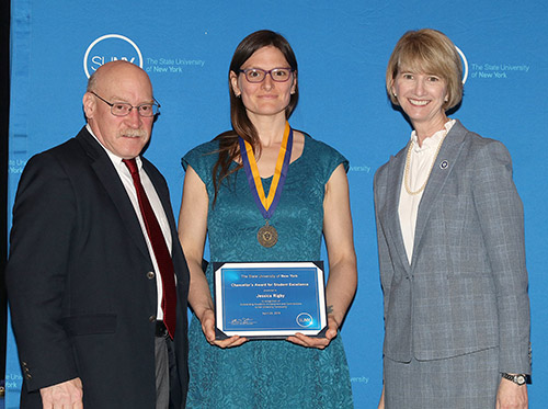 Jessica Rigby receives the Chancellor's Award, with Dean Borner (left) and SUNY Chancellor Johnson (right).