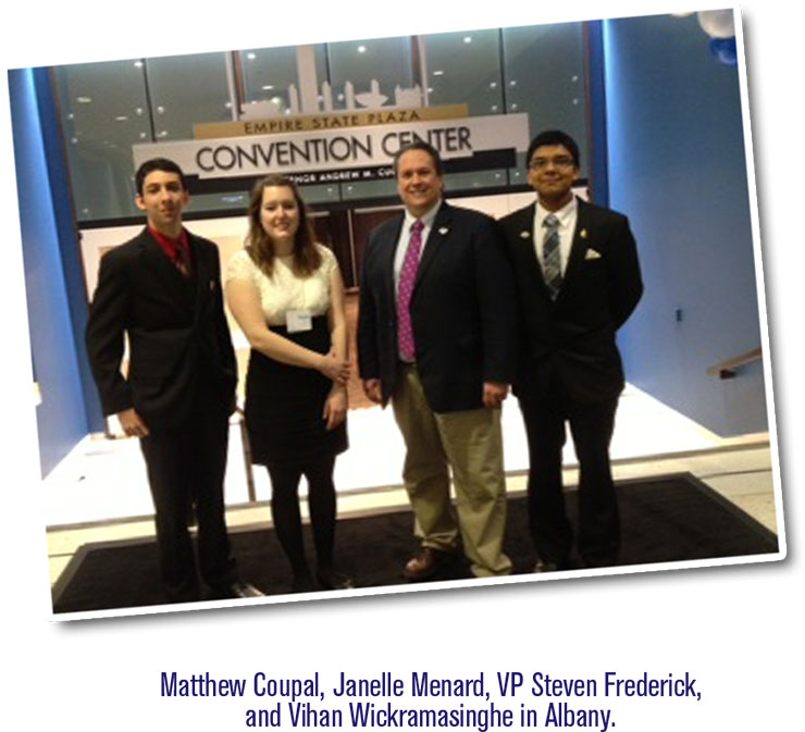 Matthew Coupal, Janelle Menard, VP Steven Frederick, and Vihan Wickramasinghe in Albany